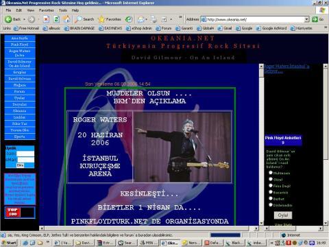 PFTN'in 2006 yılında Waters'ın gelişini haber veren görünümü