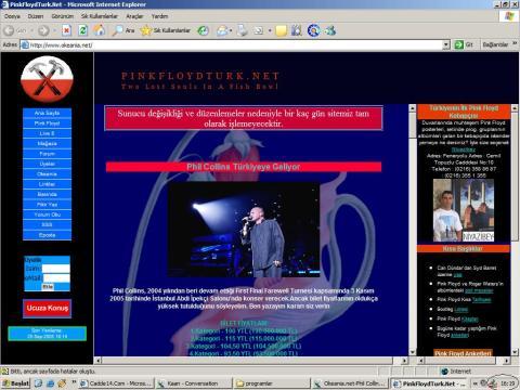 2005 yılında Phil Collins'in konser haberini veren PFTN sayfa görüntüsü